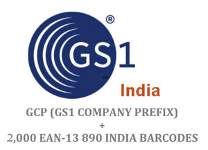 Package of 2000 GS1 India 890 EAN-13 Barcode + Company Prefix
