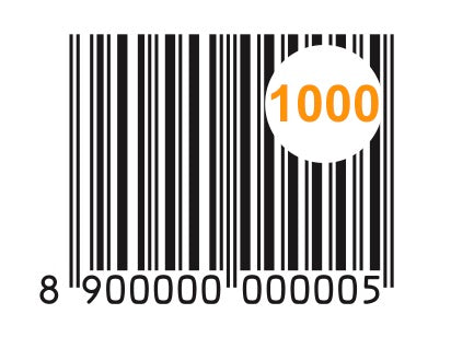Package of 1000 GS1 India 890 EAN-13 Barcodes