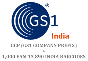Package of 1000 GS1 India 890 EAN-13 Barcode + Company Prefix