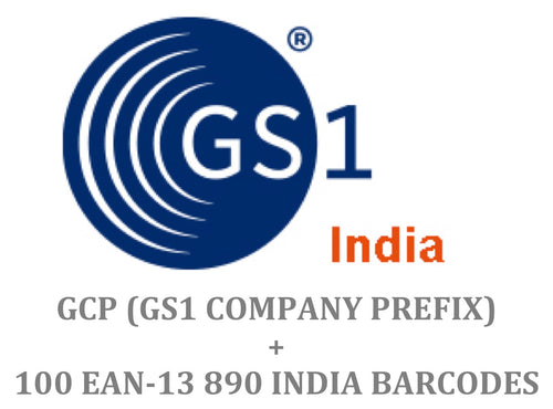 Package of 100 GS1 India 890 EAN-13 Barcode + Company Prefix