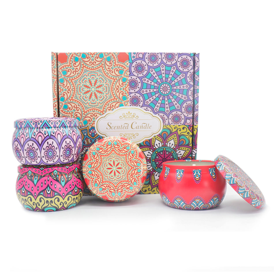 Handmade Scented Candle, High Quality Tin Can Perfume Natural Soy Wax for Aromatherapy- 4 Pack
