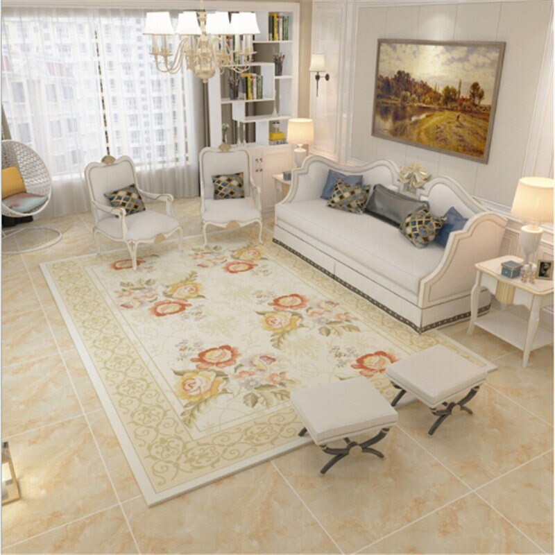 Modern Pastoral Style Floral Soft Large Carpets For Living Room Bedroo Eills Collection