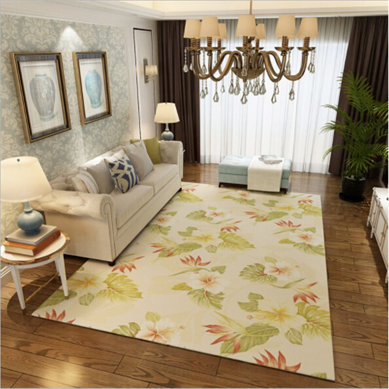 Modern Pastoral Style Floral Soft Large Carpets For Living Room Bedroom  Rugs Home Carpet Floor Rug Delicate Door Mat