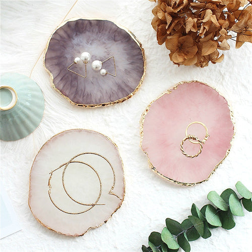 Resin Agate Jewelry Display Gold Edge Plate Trays