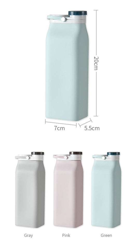 600ML Portable Silicone Water Bottle Retractable Folding Kids Cute Drink Bottle Outdoor Travel Collapsible Water Bottle Gif