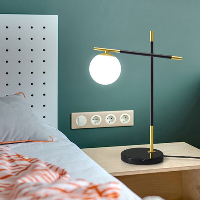 Postmodern table lamp creative personality glass lampshade wrought iron bedside table lamp