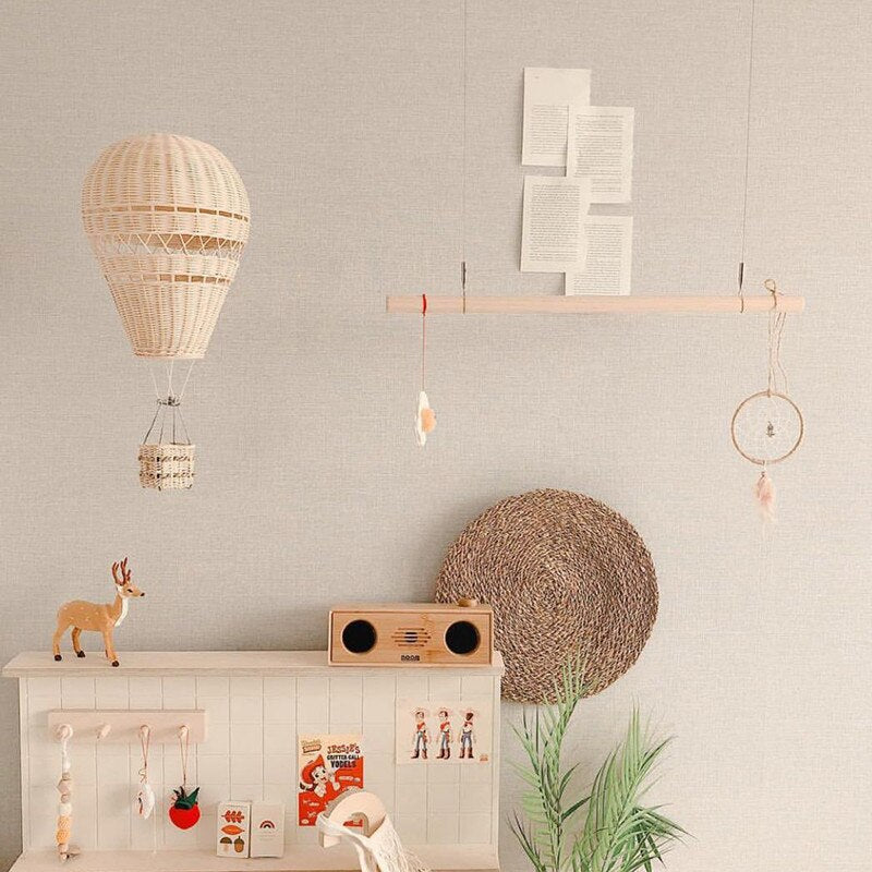Children Bedroom Handmade Rattan Wave Hot Air Balloon Wall Hanging Decor