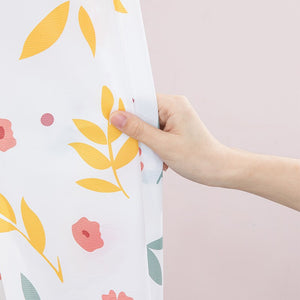 PEVA Geometric Flower Pattern Bathtub Shower Curtain
