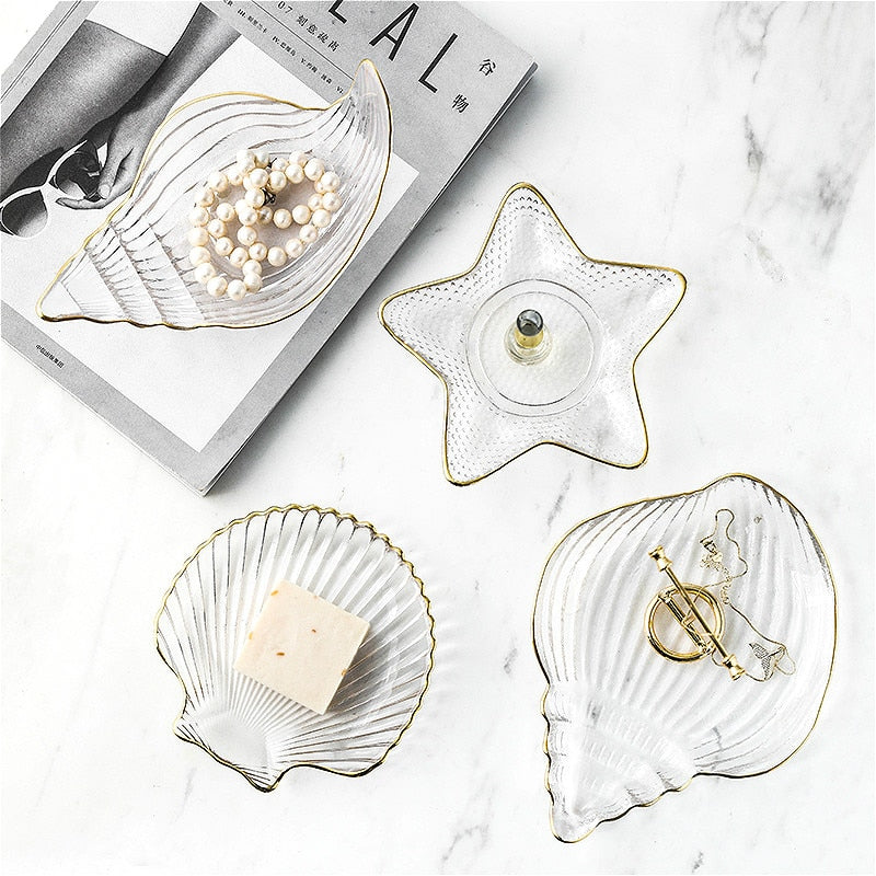Glass Shell Starfish Scallops Storage Trays