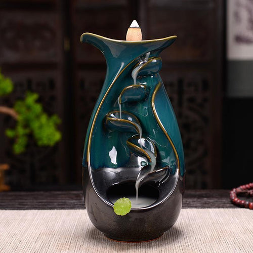 Zen Backflow Smoke Waterfall  Mountain River Handicraft Incense Holder