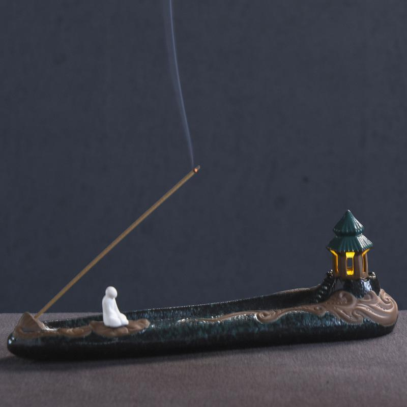 Incense Holder With Led Ligh Ceramic Censer Incense Sticks Holder