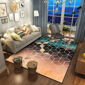 Rose Gold Pink/Green Euclid Area Rugs
