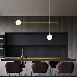 Modern Minimalist dining room copper glass  LED chandelier pendant lighting