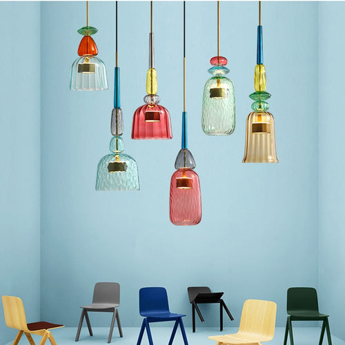Colorful Glass Pendant Lights Home Decorative Chandelier Lighting
