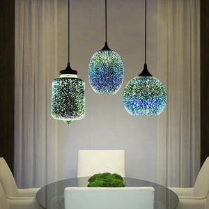 Modern 3D Colorful Nordic Starry Sky Glass Shade Pendant Lamp