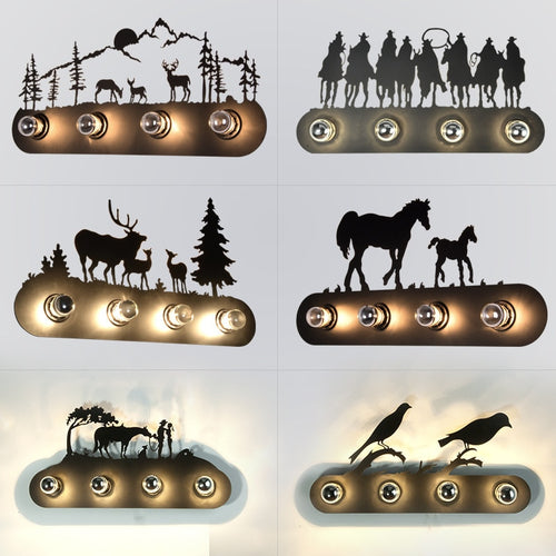 Animal Style Vintage Industrial Horse Wall Lamp