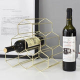 Rose Gold Geometric Honeycomb 6 Holes Wine Storage Shelf