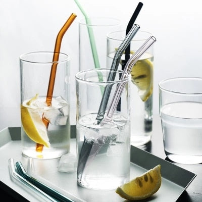 Colorful Glass Drinking Straws with Clean Brush Reusable Bar