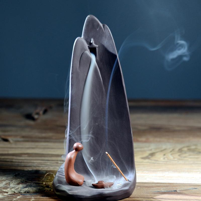 Creative Mountain Ceramic Backflow Incense Burner Holder