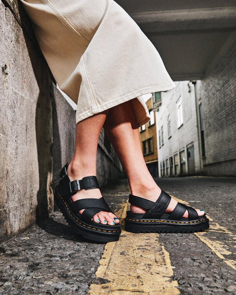 Dr. Martens Voss II Black Hydro Leather Sandals 26799001