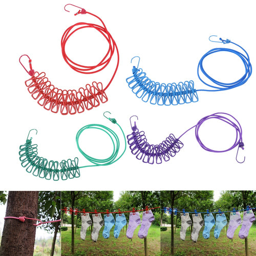 1.9M Portable Travel Stretchy Clothesline Outdoor Camping Windproof Clothes Line With 12 Clamp Clips Hooks Outdoor Tool - Camping And Outdoor Supplies
