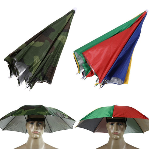 2018 Outdoor Foldable Sun Umbrella Hat Golf Camping Headwear Cap Watermelon/Camo Color Head Hat Fishing Tool Opened Size 65CM - Camping And Outdoor Supplies