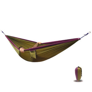 Portable Hammock Outdoor Fabric Camping Hanging Hammock Mosquito Net Parachute Bed Leisure Backpacking Beach Garden Hammock - Camping And Outdoor Supplies