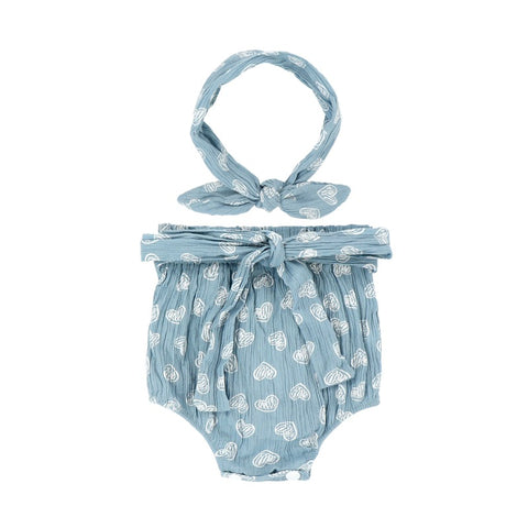 Organic Pure Cotton Blue Hearts Bloomer set with Headband