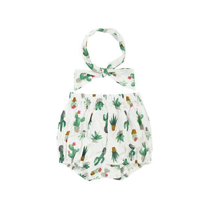 Organic Cotton Cactus Bloomers with Headband