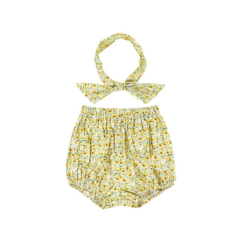 Organic Cotton Sun Flower Bloomers with Headband Summer 2019