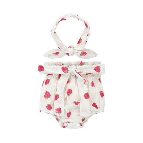 Organic Pure Cotton Strawberry Bloomer set with Headband