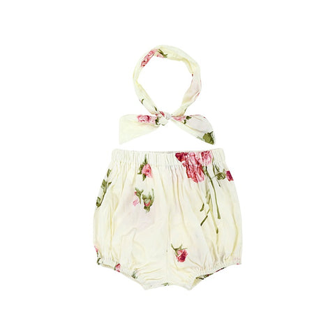 Organic Cotton Vintage Rose Bloomers with Headband Summer 2019