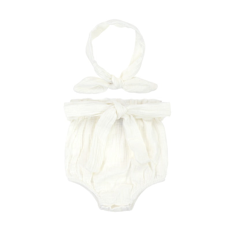 Organic Pure Cotton White Bloomer set with Headband