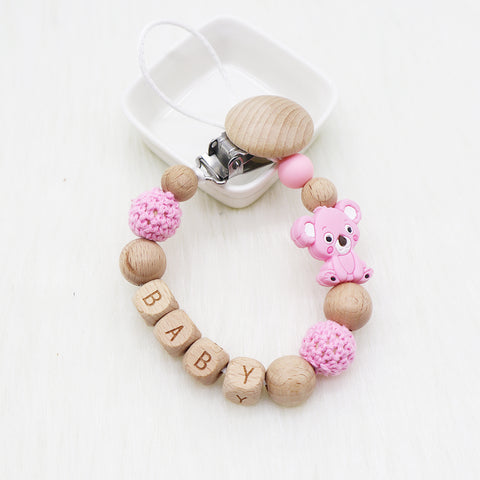 Pacifier Holder Koala Pink