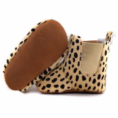 Leather baby Ankle Boots Cheetah Soft  Anti Slip Sole Shoes