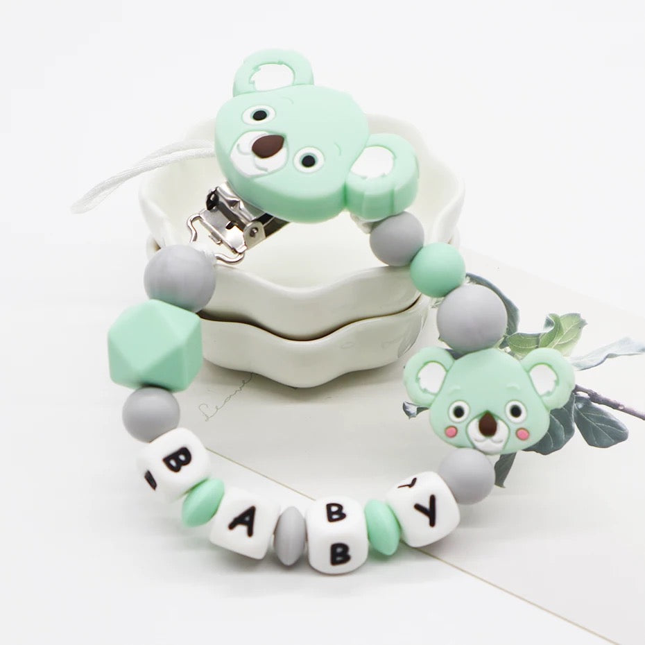 Pacifier Holder Koala Mint & Grey