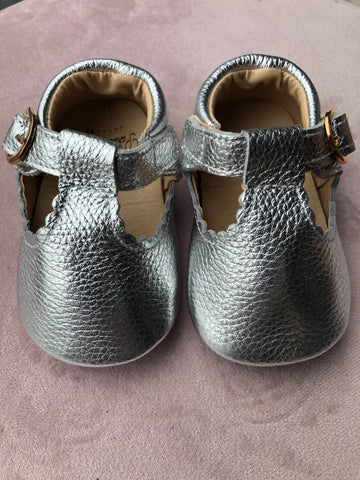 Baby shoes Leather T bars with rubber sole Silver