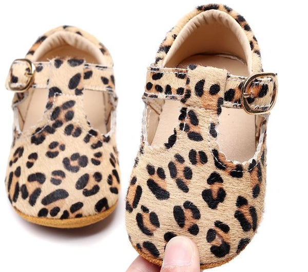 Leather Baby Leopard T Bar Buckle Soft Sole Shoes