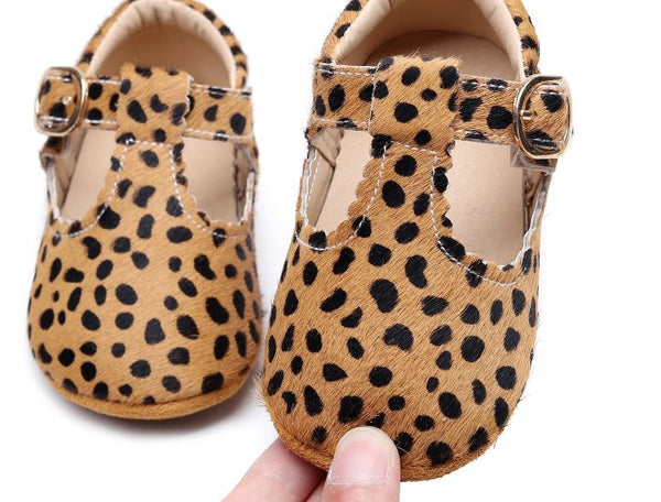 Leather Baby Cheetah T Bar Buckle Soft Sole Shoes