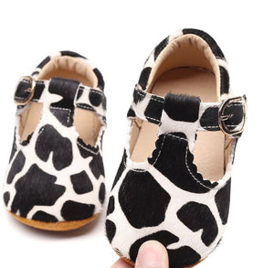 Leather Baby T Bar Giraffe Buckle Soft Sole Shoes