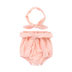 Organic Pure Cotton Pink Bloomer set with Headband
