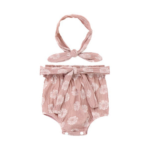 Organic Pure Cotton Tea Rose Bloomer set with Headband