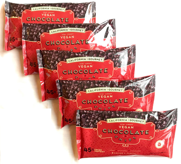 Five Red Bags 45%-cocoa Chocolate Chips $22 Vegan Gluten Free Belgian Chocolate Chips