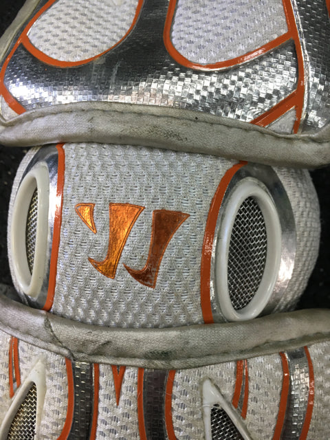 Used Warrior EXOLYTE White/Orange Sr Large Lacrosse Arm Pads