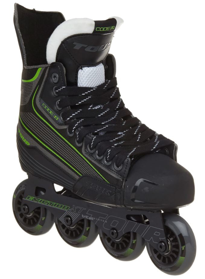 Tour Code 9 Black/Green New Jr. Roller Hockey Skates