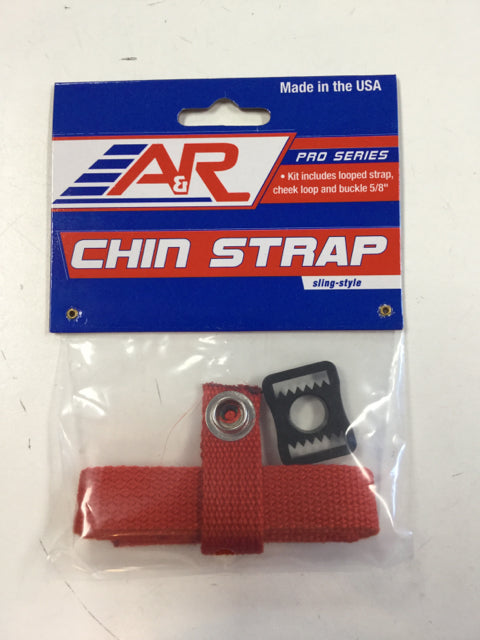 A&R Helmet 3 Piece Chin Strap Kit, Red, New