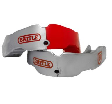 Battle Sports 2 Pack Red/Silver Adult New Non-Flavored Mouthguard