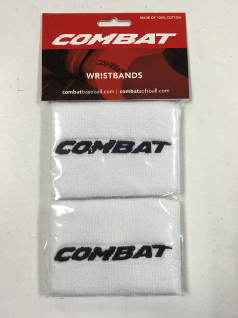 "Combat Wristbands White 4"" New Apparel"