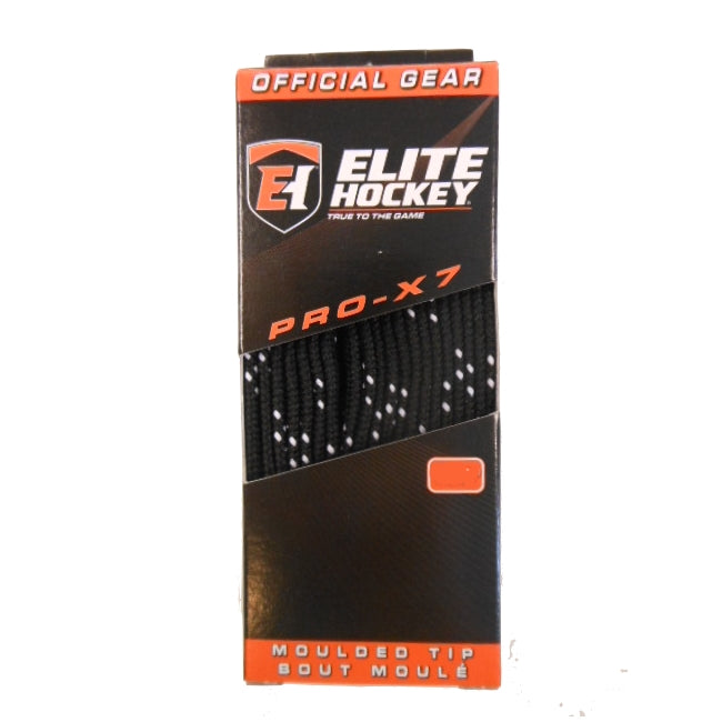 "Elite Pro-X7 Black 120"" New Hockey Laces Non-Waxed"