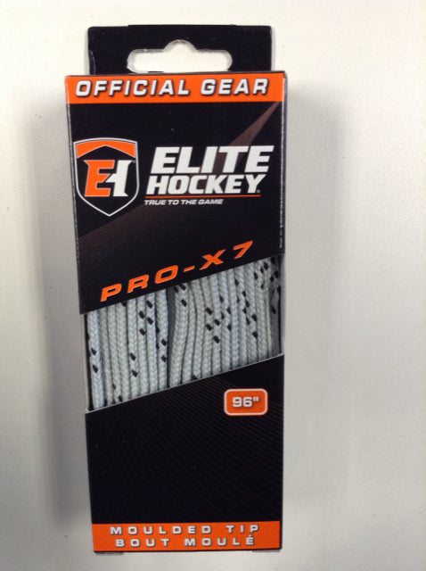 "Elite Pro-X7 Silver 96"" New Hockey Laces Non-Waxed"